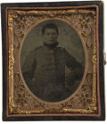 Photography:Ambrotypes, Hand-Tinted Ambrotype of a Confederate Private....