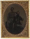Photography:Tintypes, Quarter Plate Tintype of Armed Union Captain and Soldier,...