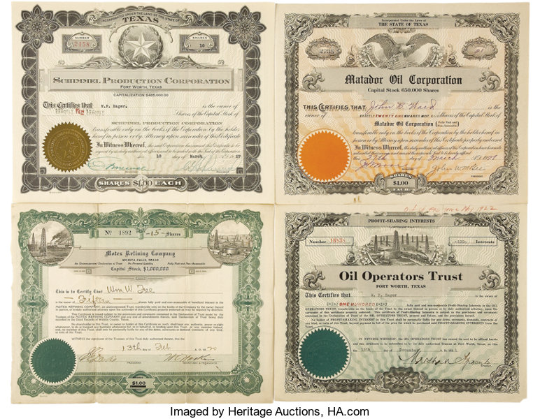 Four 1920s Texas Oil Company Stock Certificates    (Total: 4
