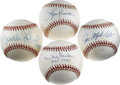 Autographs:Baseballs, Hall of Famers and Stars Single Signed Baseballs Lot of 4. Finequartet of entries collected here brings some lucky bidder ...