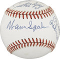 Autographs:Baseballs, Hall of Famer's Multi-Signed Baseball. The OAL (Brown) baseball hasthe honor of holding the signatures of eleven members of...