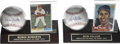 Autographs:Baseballs, Robin Roberts and Bob Feller Single Signed Baseballs Lot of 2 withTopps Trading Cards. Two of the most dominant mound spec...
