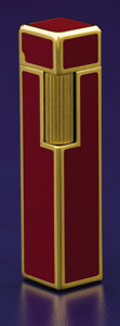 Miscellaneous, A GOLD PLATED AND ENAMEL LIGHTER . Made for Cartier, Paris, France, circa 1970. Marks: (interlaced C's), Cartier, 18K, G.P...