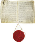 Autographs:Non-American, Scotch Patent with Large Seal of Queen Victoria. Four two-sidedpages, folio, on parchment, Edinburgh, Scotland, July 3, 185...(Total: 2 Items)