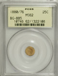 California Fractional Gold: , 1880/76 25C Indian Round 25 Cents, BG-885, R.3, MS62 PCGS. PCGSPopulation (26/120). NGC Census: (5/20). (#10746)...