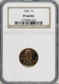 Proof Lincoln Cents: , 1940 1C PR64 Red NGC. NGC Census: (196/364). PCGS Population(484/726). Mintage: 15,872. Numismedia Wsl. Price for NGC/PCGS...