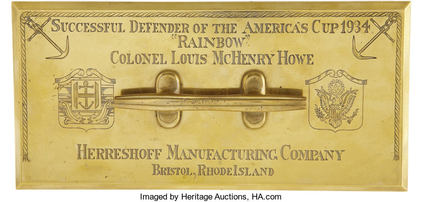 Political:3D & Other Display (1896-present), Louis McHenry Howe, 1934 America's Cup Large Engraved Brass Paperweight....
