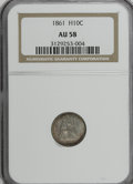 Seated Half Dimes: , 1861 H10C AU58 NGC. NGC Census: (34/386). PCGS Population (30/301).Mintage: 3,361,000. Numismedia Wsl. Price for NGC/PCGS ...
