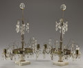 Decorative Arts, Continental:Lamps & Lighting, A PAIR OF SWEDISH NEOCLASSICAL CRYSTAL, BRASS, AND MARBLE TWO-LIGHTGIRONDOLES . Mid to Late 19th Century. 18 in...