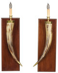 Decorative Arts, American:Lamps & Lighting, A PAIR OF WALL SCONCES FASHIONED FROM CATTLE HORNS. Modern. 26-1/2 x 8 inches (67.3 x 20.3 cm) each. ...