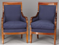 Furniture : French, A PAIR OF FRENCH EMPIRE MAHOGANY BERGÈRES. First Quarter 19th Century. 37 x 24 x 24 inches (94.0 x 61.0 x 61.0 cm) e...