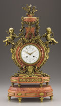 Decorative Arts, French:Other , A FRENCH LOUIS XVITH-STYLE GILT BRONZE MOUNTED PINK MARBLE MANTELCLOCK. Emile Colin & Cie, Paris, Late 19th Century. 23-1/4...