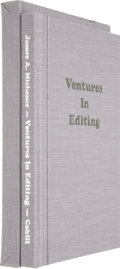 Books:Signed Editions, James A. Michener. Ventures in Editing. Huntington Beach: James Cahill Publishing, 1995.. ...