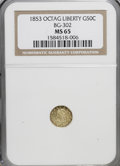 California Fractional Gold: , 1853 50C Peacock Reverse 50 Cents, BG-302, Low R.4, MS65 NGC. NGCCensus: (2/0). PCGS Population (2/0). (#10422)...