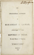 Books:Early Printing, Mirabeau B. Lamar. The Inaugural Address of Mirabeau B. Lamar,President of the Republic of Texas, To Both Houses of Con...