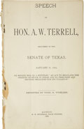 Books:Pamphlets & Tracts, Texas Senator Alexander W. Terrell's Personal Copy of the 1884Journal of the Senate of Texas... (Total: 2 Items)