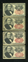 Fractional Currency:Fifth Issue, Fr. 1308 25c Fifth Issue Fine. Fr. 1309 25c Fifth Issue. ThreeExamples. Fine.. ... (Total: 4 notes)