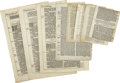 Books:Early Printing, [Bible]. Group of Early Printed Bible Leaves, as follows:...