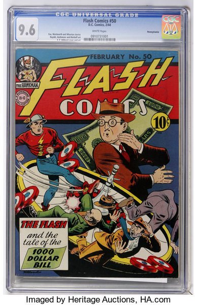 Flash Comics #50 Pennsylvania pedigree (DC, 1944) CGC NM+