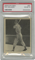 Baseball Cards:Singles (1930-1939), 1939 Play Ball Ted Williams #92 PSA EX-MT 6. Avid collectors of vintage cardboard will do well to get their hand on this hi...