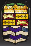 Decorative Arts, British:Other , PROPERTY FROM THE CROW ART PARTNERSHIP COLLECTION. AN ENGLISHSTAINED AND LEADED GLASS ARMORIAL PANEL. Part Possibly 17th ...