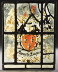 Decorative Arts, Continental:Other , PROPERTY FROM THE CROW ART PARTNERSHIP COLLECTION. A CONTINENTALSTAINED AND LEADED GLASS ARMORIAL PANEL. 18th Century. 13...
