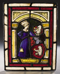Decorative Arts, Continental:Other , PROPERTY FROM THE CROW ART PARTNERSHIP COLLECTION. A CONTINENTALSTAINED AND LEADED GLASS PANEL. 13-1/2 inches (34.3 cm) h...