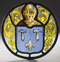 Decorative Arts, Continental:Other , PROPERTY FROM THE CROW ART PARTNERSHIP COLLECTION. A STAINED ANDLEADED GLASS ARMORIAL PANEL. 19th-20th Century. 8-3/4 inc...