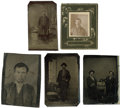 Photography:Tintypes, Four Tintypes and one Small Albumen ca 1870s-1880s.... (Total: 5Items)