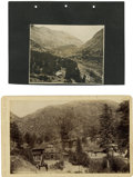Photography:Cabinet Photos, Cabinet Card of The Iron Spring, Manitou Springs, Colorado,...(Total: 2 Items)