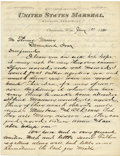 Western Expansion:Cowboy, United States Marshall, Wyoming Territory, Autograph Letter,...