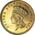 Three Dollar Gold Pieces, 1883 $3 MS63 Prooflike NGC....