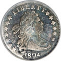 Early Dimes, 1804 10C 14 Stars on Reverse--Planchet Flaw--NCS. VF....