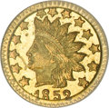 California Fractional Gold, 1852 50C Indian Round 50 Cents, BG-1075, R.7, MS63 PCGS....