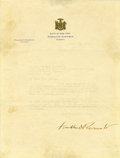 Autographs:U.S. Presidents, Franklin D. Roosevelt Typed Letter Signed as New York Governor onState of New York letterhead. One page, Albany, New York, ...