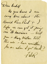Franklin D. Roosevelt: Autograph Note Signed as President