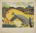 animation art:Production Drawing, Mary Blair - Song of the South Concept Painting Original Art (Walt Disney, 1946)....