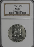 Franklin Half Dollars: , 1952-S 50C MS62 NGC. NGC Census: (11/1441). PCGS Population(10/2240). Mintage: 5,526,000. Numismedia Wsl. Price for NGC/PC...
