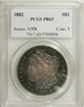 Proof Morgan Dollars: , 1882 $1 PR63 PCGS. The plum-red fields and devices are framed by peripheral sea-green and nav...