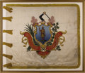 "Military & Patriotic:Civil War, Massachusetts State Militia Flag, Circa 1850. A magnificent silk flag with gold fringe measuring 66"" on the fly and 55"" at t..."