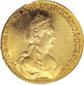 Russia: , Russia: Catherine II. Novodel Gold 5 Roubles 1781 CПБ, Crowned bust right/Imperial eagle, Bit-, F-130b, MS63 PCGS. Prooflike fields ...