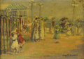 Fine Art - Painting, American:Modern  (1900 1949)  , HARRIETTE BOWDOIN (American 1880-1947). On The Boardwalk.Oil on panel. 8-1/2 x 11-1/2 inches (21.6 x 29.2 cm). Signed l...