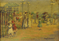 HARRIETTE BOWDOIN (American 1880-1947) On The Boardwalk Oil on panel 8-1/2 x 11-1/2 inches (21.6 x 29.2 cm) Signed l