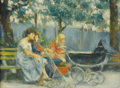 Fine Art - Painting, American:Contemporary   (1950 to present)  , MARIE STOBBE (American b.1912). In The Park. Oil on panel.8-1/4 x 11-1/4 inches (21 x 28.6 cm). Signed lower left. Pr...
