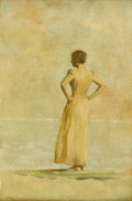 Fine Art - Painting, American:Contemporary   (1950 to present)  , AARON SHIKLER, A.N.A. (American b.1922). Figure On Beach(Portrait Of Artist's Wife In His Mother's Dress), 1972. Oilon...