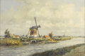 Paintings, MARIUS DE JONGERE (Dutch 1912-1978). Windmill By The River. Oil on canvas. 16 x 23 inches (40.6 x 58.4 cm). Signed lower...