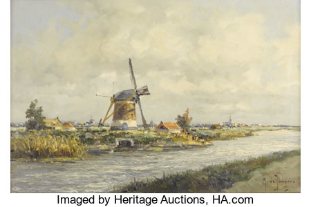 MARIUS DE JONGERE (Dutch 1912-1978) Windmill By The River Oil on canvas 16 x 23 inches (40.6 x 58.4 cm) Signed lower...