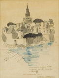 Fine Art - Painting, European:Modern  (1900 1949)  , MATHURIN MEHEUT (French 1882-1958). Rencontre a Roscoff (Meetingat Roscoff). Graphite and crayon on paper. 10 x 7-3/4 i...