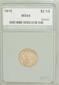 1915 $2 1/2 MS64 Numistrust (MS62). Bright throughout and sharply struck. The surfaces show numerous small abrasions on...