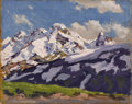 Fine Art - Painting, American:Modern  (1900 1949)  , PAUL DOUGHERTY (American 1877-1947). Sunlit Peaks. Oil onpanel. 16-1/4 x 12-3/4 inches (15.9 x 42.4 cm). Signed lower l...